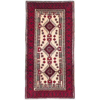 Finest Baluch Wool Hand-Knotted Cream/Red Area Rug