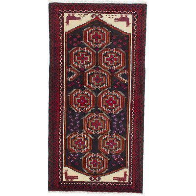 One-of-a-Kind Finest Baluch Wool Hand-Knotted Gray/Red Area Rug