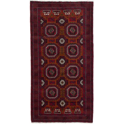 One-of-a-Kind Finest Baluch Wool Hand-Knotted Dark Red Area Rug