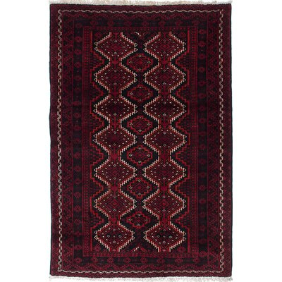 One-of-a-Kind Finest Baluch Wool Hand-Knotted Black/Dark Red Area Rug