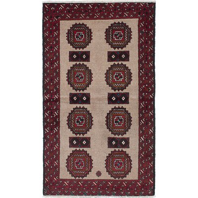 One-of-a-Kind Finest Baluch Wool Hand-Knotted Light Brown/Red Area Rug