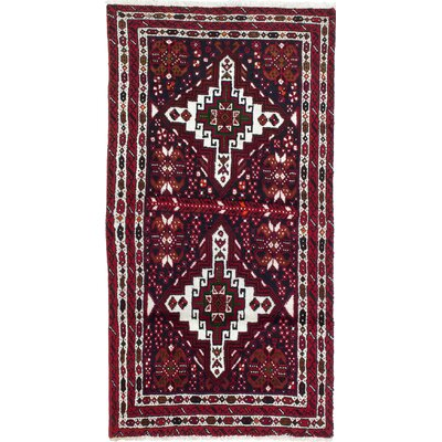 Finest Baluch Wool Hand-Knotted Cream/Dark Navy Area Rug