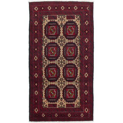 One-of-a-Kind Finest Baluch Hand-Knotted Beige/Red Area Rug
