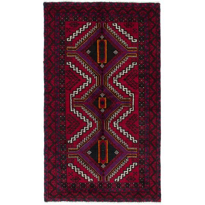 Finest Baluch Hand-Knotted Red/Purple Area Rug