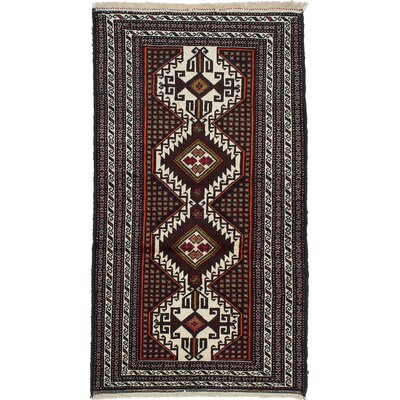 Finest Baluch Wool Hand-Knotted Cream/Dark Brown Area Rug