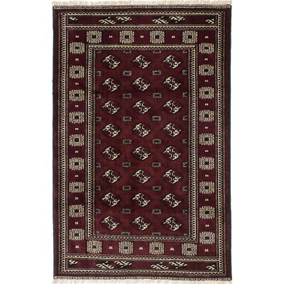 Finest Baluch Wool Hand-Knotted Dark Orange/Red Area Rug