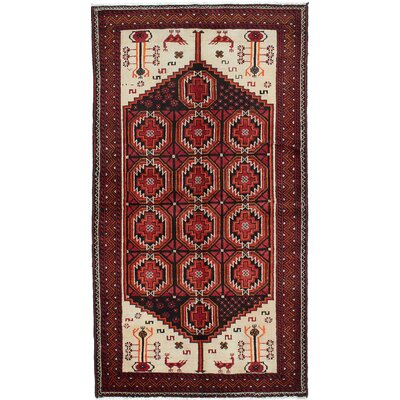 One-of-a-Kind Finest Baluch Wool Hand-Knotted Cream/Light Red Area Rug