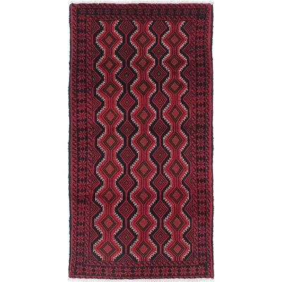 Finest Baluch Wool Hand-Knotted Dark Burgundy Area Rug