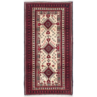 One-of-a-Kind Finest Baluch Hand-Knotted Cream/Red Area Rug