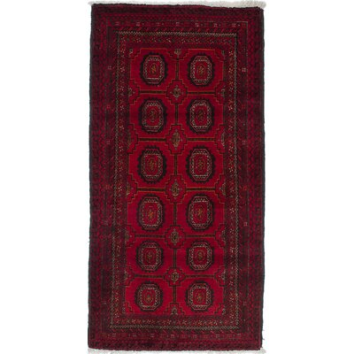 One-of-a-Kind Finest Baluch Wool Hand-Knotted Black/Red Area Rug