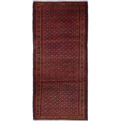 Finest Baluch Wool Hand-Knotted Copper/Dark Burgundy Area Rug