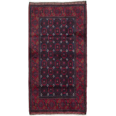 One-of-a-Kind Finest Baluch Wool Hand-Knotted Dark Navy/Red Area Rug