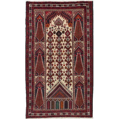 One-of-a-Kind Finest Baluch Wool Hand-Knotted Cream/Dark Red Area Rug