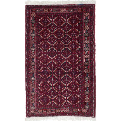 One-of-a-Kind Finest Baluch Hand-Knotted Black/Red Area Rug