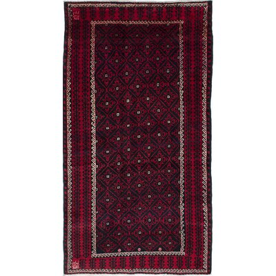 Finest Baluch Wool Hand-Knotted Black/Red Area Rug