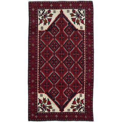 Finest Baluch Hand-Knotted Cream/Red Area Rug
