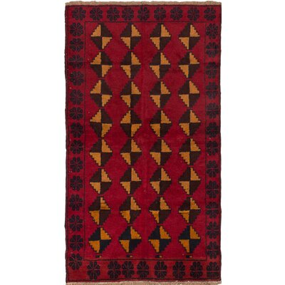 Bahor Wool Hand-Knotted Red Area Rug