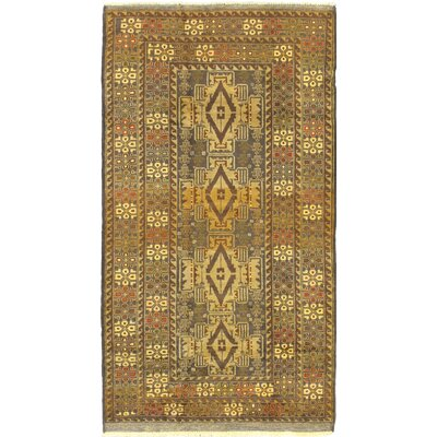 Khandahar Finest Wool Hand-Knotted Brown/Green Area Rug