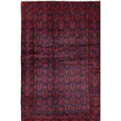 Malayer Wool Hand-Knotted Dark Burgundy/Dark Navy Area Rug