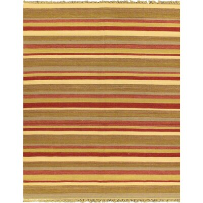 Fiesta Wool Kilim Flat-Woven Dark Red Area Rug