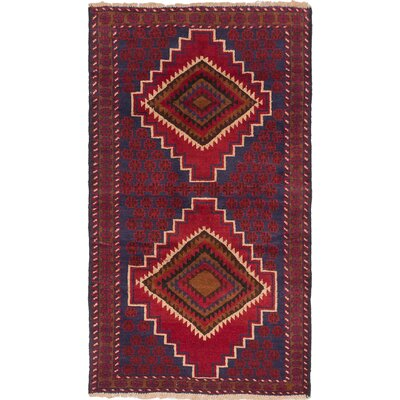 Kazak Wool Hand-Knotted Navy/Red Area Rug