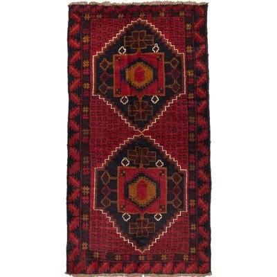 Bahor Wool Hand-Knotted Dark Burgundy/Dark Navy Area Rug