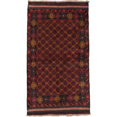 Herati Wool Hand-Knotted Black/Dark Red Area Rug