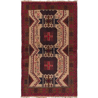 Bilbo Wool Hand-Knotted Khaki/Red Area Rug
