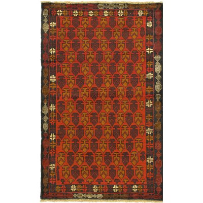 One-of-a-Kind Herati Wool Hand-Knotted Red Area Rug