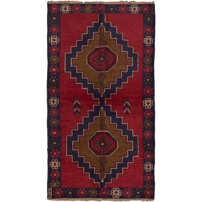 One-of-a-Kind Bethany Rectangle Wool Hand-Knotted Dark Burgundy Area Rug