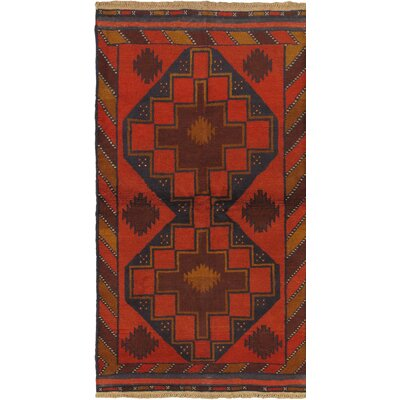 One-of-a-Kind Bethany Geometric Wool Hand-Knotted Red Area Rug