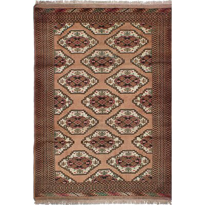 One-of-a-Kind Turkoman Wool Hand-Knotted Tan Area Rug