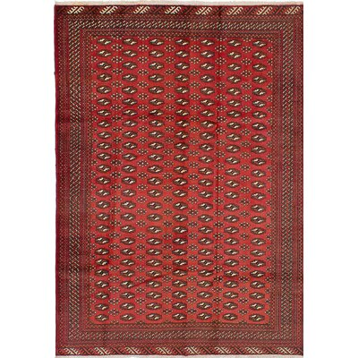 Turkoman Wool Hand-Knotted Red Area Rug