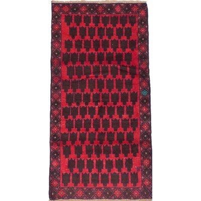 Bahor Wool Hand-Knotted Dark Brown/Dark Burgundy Area Rug