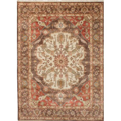 One-of-a-Kind Jules-Sultane Wool Hand-Knotted Cream/Dark Brown Area Rug