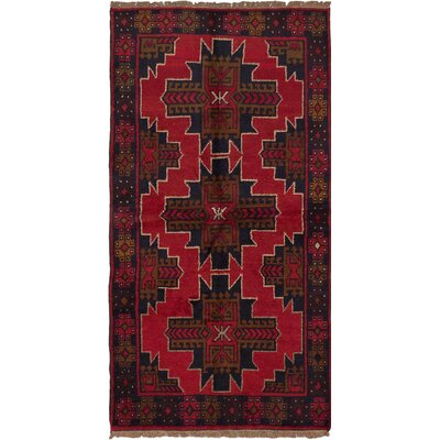 Bethany Wool Hand-Knotted Dark Burgundy Area Rug
