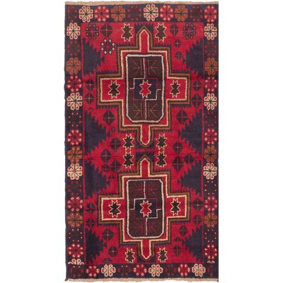Bahor Wool Hand-Knotted Dark Navy/Red Area Rug