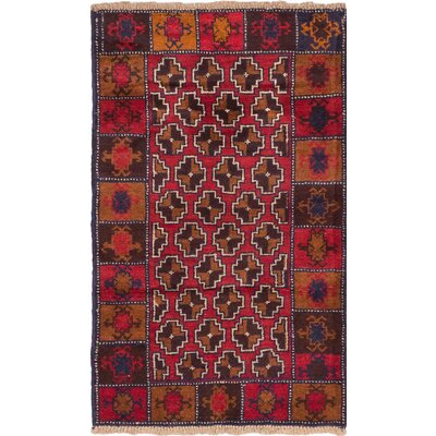 One-of-a-Kind Bahor Wool Hand-Knotted Dark Burgundy Area Rug