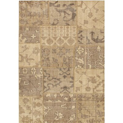 One-of-a-Kind Ushak Patch Wool Hand-Knotted Light Brown Area Rug