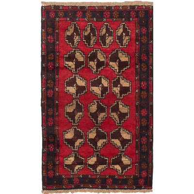 Bahor Wool Hand-Knotted Dark Burgundy Area Rug