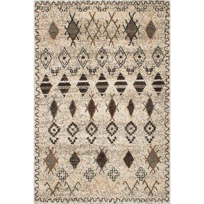 Maynard Shag  Ivory/Black Area Rug Rug Size: 53 x 78