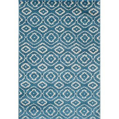 Manuel Shag Turquoise/Cream Area Rug Rug Size: 65 x 95
