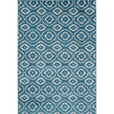Manuel Shag Turquoise/Cream Area Rug Rug Size: 52 x 75