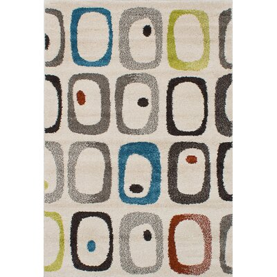 Vale Shag Ivory/Blue/Green Area Rug Rug Size: 65 x 95