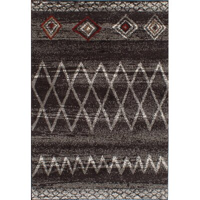 Maynard Shag Dark Brown/Dark Gray Area Rug Rug Size: 65 x 95