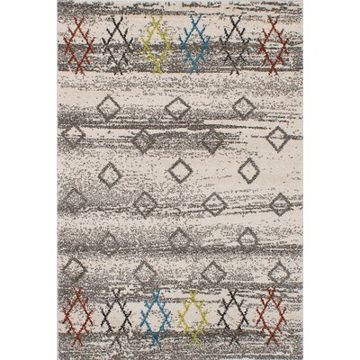 La Morocco Shag Ivory/Gray Area Rug Rug Size: 52 x 75