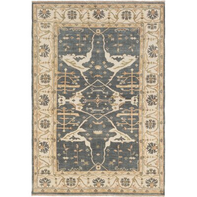 One-of-a-Kind Li Hand-Knotted Rectangle Dark Gray Area Rug