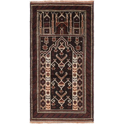 Bowenfels Hand-Knotted Black/Dark Red Area Rug