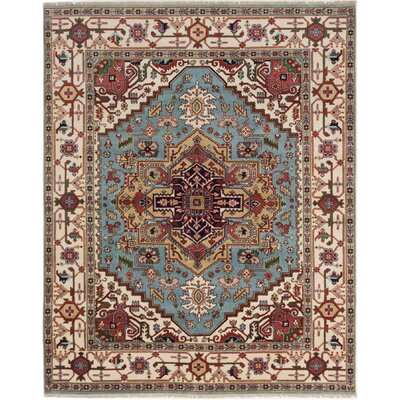 Runell Hand-Knotted Light Blue Area Rug