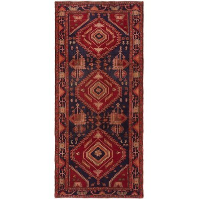 Lin Hand-Knotted Dark Navy/Red Area Rug